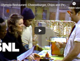 The Olympia Restaurant Cheeseburger, Chips and Pepsi SNL video still
